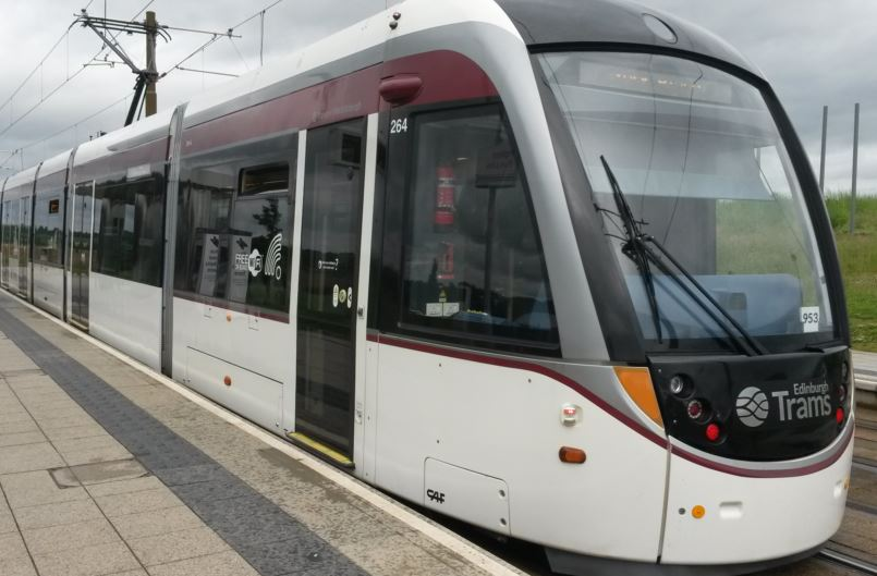 Tram at Ingliston Park & Ride stop
